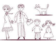 Cartoon family with cat Stock Photos
