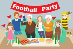 Family with football party Royalty Free Stock Photography