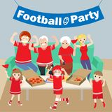 Family with football party Stock Image
