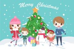 Cartoon family with christmas Royalty Free Stock Photos