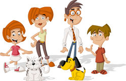 Cartoon family. Colorful cute happy cartoon family Royalty Free Stock Photography