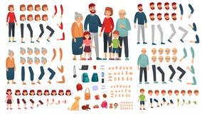 Cartoon family creation kit. Parents, children and grandparents characters constructor. Big family vector illustration