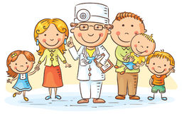 Cartoon Family Doctor. Family doctor with his patients, parents and three kids Royalty Free Stock Photo
