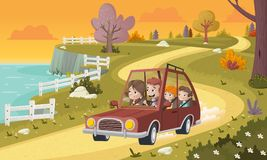Cartoon family driving a car in the park. Road on nature background Royalty Free Stock Image