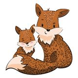 Cartoon family of foxes. A stylized fox with a fox puppy. Linear Art. Vector illustration for children. Wild animals. Stock Photography