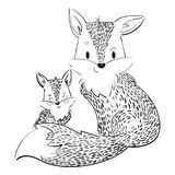 Cartoon family of foxes. A stylized fox with a fox puppy. Linear Art. Vector illustration for children. Wild animals Stock Image