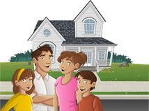 Cartoon family in front of a house. In suburb neighborhood vector illustration