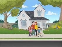 House in suburb neighborhood. Cartoon family in front of a house in suburb neighborhood Royalty Free Stock Photos