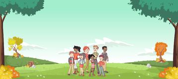 Cartoon family in a green park with grass and trees. Nature landscape Royalty Free Stock Images