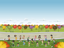 Cartoon family in a green park with grass and trees. Royalty Free Stock Photo
