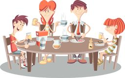 Cartoon family having breakfast. Table with food Stock Images