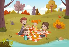 Cartoon family having picnic in the park on a sunny day. Nature background Stock Photography