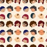 Cartoon family head seamless pattern Stock Photo