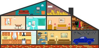 Cartoon family house stock illustration