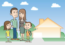Cartoon family and house Royalty Free Stock Image