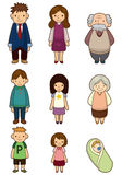 Cartoon family icon. Drawing Stock Photography