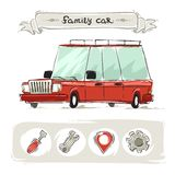 Cartoon Family Old Car Set Royalty Free Stock Images