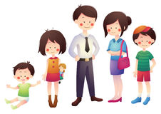 Cartoon Family with Parents and Children Stock Image