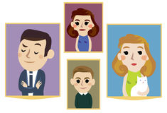 Cartoon family portraits Royalty Free Stock Photo