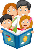 Cartoon family read a bedtime story Royalty Free Stock Photography