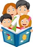 Cartoon family read a bedtime story Royalty Free Stock Photography