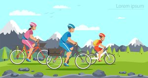 Cartoon family riding on bicycles. Mountains stock illustration