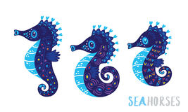 Cartoon family sea horse set. Vector illustration Stock Images