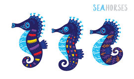 Cartoon family sea horse set. Vector illustration. Cute cartoon family of seahorses. Illustration for Children. Vector image Stock Image