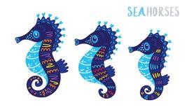 Cartoon family sea horse set. Vector illustration Stock Images