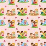 Cartoon family seamless pattern Royalty Free Stock Image