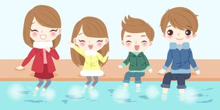 Cartoon family with foot bath. Cartoon family smile happily with foot bath Royalty Free Stock Photo