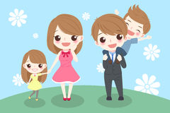Cartoon family smile happily. Happy cartoon family smile happily on grass Royalty Free Stock Photography