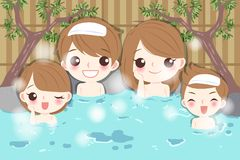 Family with hot spring Royalty Free Stock Photo