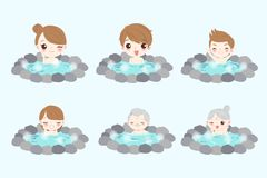 Family with hot spring Stock Photo