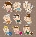 Cartoon family stickers Stock Images