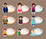 Cartoon family Stickers,Label Stock Photo
