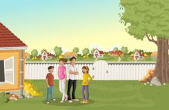 Cartoon family in suburb neighborhood. Green park landscape with grass, trees, and houses royalty free illustration