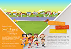 Cartoon family in suburb neighborhood. Template for advertising brochure with cartoon family in suburb neighborhood Royalty Free Stock Photo