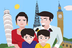 Cartoon family taking selfie against europe attractions backgrou Stock Photo