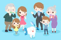 Cartoon family with tooth Royalty Free Stock Images
