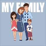Cartoon family with two children Stock Images