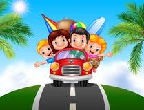 Cartoon family vacation Stock Photo