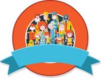 Cartoon family. Royalty Free Stock Photo