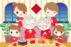 Family with chinese new year. Cartoon family wear cheongsam with new year on the red background Stock Images