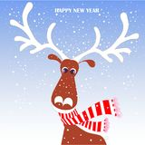 Cartoon fan, cute reindeer in red striped scarf with white horns on blue, snow, Happy New Year. Stock vector illustration for typography banner, for Royalty Free Stock Image