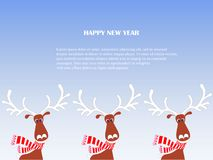 Cartoon fan, cute reindeers in red striped scarf with white horns, Lorem ipsum on blue, snow. Happy New Year stock vector illustration for typography banner Royalty Free Stock Image