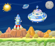Cartoon fantastic landscape with spaceship vector illustration. Stock Photos