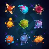 Cartoon fantastic planets. Fantasy alien planet objects for space game vector illustration