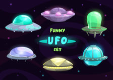 Cartoon fantastic ufo set Stock Image