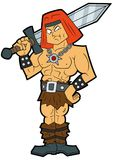 Cartoon fantasy barbarian with a sword. Illustration stereotypic muscular barbarian warrior with a sword in his hands Stock Photo